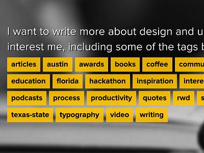 Old personal site tag list tags blog yellow black proxima-nova text-shadow