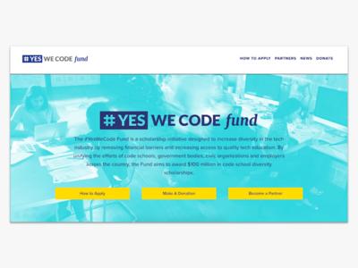 #YesWeCode Fund Website responsive coding education scholarship fund logo website
