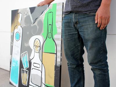 Bottles painting bottles liquor patron ciroc spirits painting acrylic canvas jameson