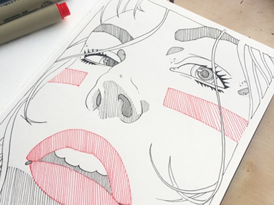 Red Lips redlips crosshatching patterns micron blackink biglips red illustration sketchbook moleskine drawing