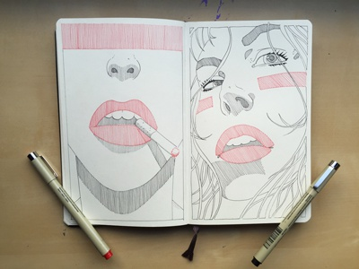 Smoke 'em redlips crosshatching patterns micron blackink biglips red illustration sketchbook moleskine drawing