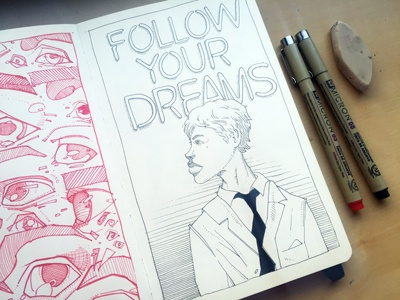 Follow Your Dreams crosshatching patterns micron blackink biglips study typography illustration sketchbook moleskine drawing