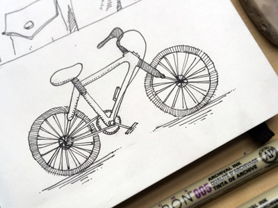 Bicycle coffee crosshatching lineart patterns micron blackink sesh bicycle illustration sketchbook moleskine drawing