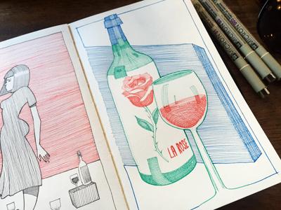 La Rose rose larose wino crosshatching patterns wine illustration sketchbook moleskine drawing