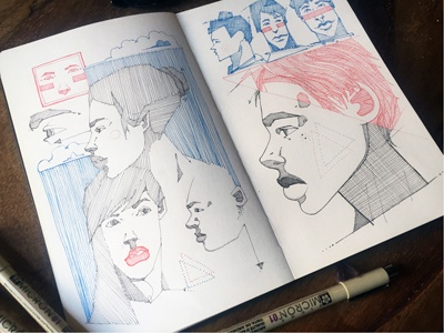 Freestyle crosshatching patterns micron redink blackink freestyle faces illustration sketchbook moleskine drawing offthetop