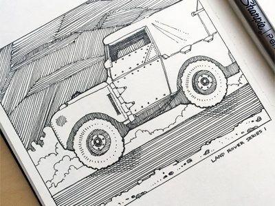 Land Rover Series 1 crosshatching patterns sharpie blackink illustration sketchbook moleskine study car drawing mountains landrover