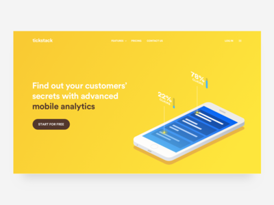 Yellow header concept WIP #2 isometric landing color vector drawing illustration hero homepage web ui