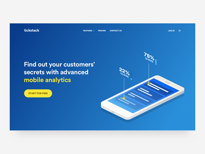 (Yellow) Blue header concept #3 isometric landing color vector drawing illustration hero homepage web ui