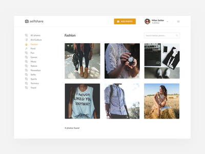 Selfshare concept user button menu list grid photos admin dashboard web ui