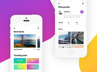 Flying social network concept ios clean profile gradient color app list photos grid dashboard mobile ui