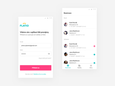 Flatio mobile app #1 form button bar tabs list login phone android mobile app ui