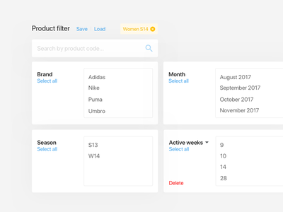 Dashboard UI elements app box card list delete tags search select filter form ui dashboard