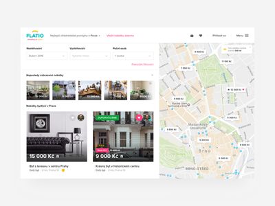 Flatio list of offers living flat list offers menu filter pin map grid app web ui