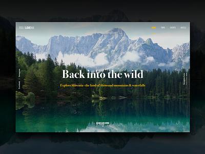 Slovenia Travel Site Concept #3 lake forest travel nature colors header hero photo ux ui website web