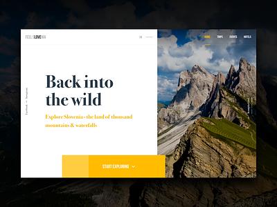 Slovenia Travel Site Concept #4 lake forest travel nature colors header hero photo ux ui website web
