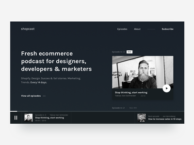 Podcast homepage concept card music play text dark podcast landing homepage web ui
