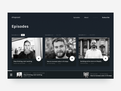 Podcast episodes concept list card music play text dark podcast landing homepage web ui