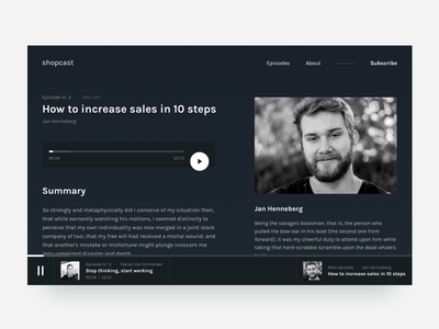 Podcast episode page card music play text dark podcast landing homepage web ui