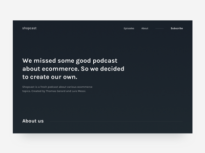 Podcast - About us form bio about text dark podcast landing homepage web ui