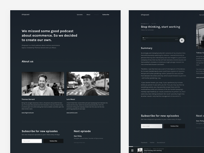 Podcast concept screens player form bio about text dark podcast landing homepage web ui