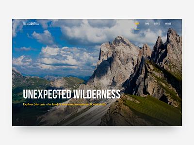Slovenia Travel Site Concept #6 mountain forest travel nature colors header hero photo ux ui website web