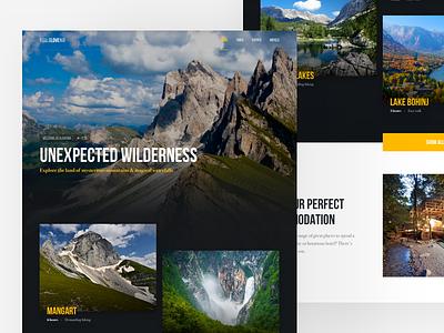 Slovenia Travel Site Concept #7 mountain forest travel nature colors header hero photo ux ui website web