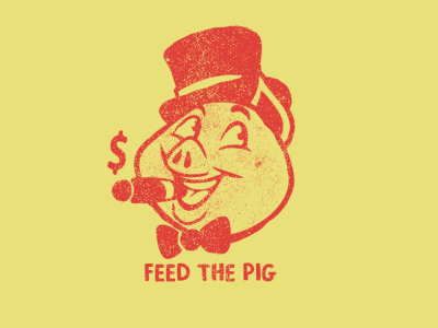 Feed the Pig pig brooklyn designer pin design type animals character design tee design vector design illustration graphics