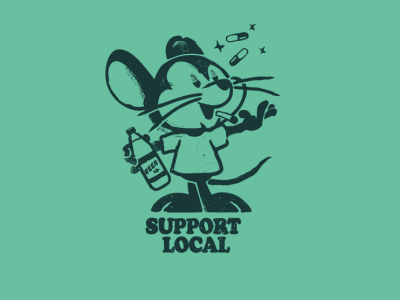 Support Local sticker design type rat mouse t shirt design brooklyn designer character design vector design illustration graphics