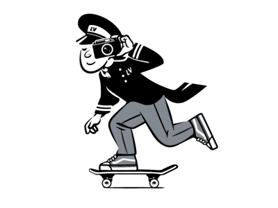 Life Valet Virtual Photo Exhibition Mascot skateboarding brooklyn designer t shirt design vector design illustration graphics