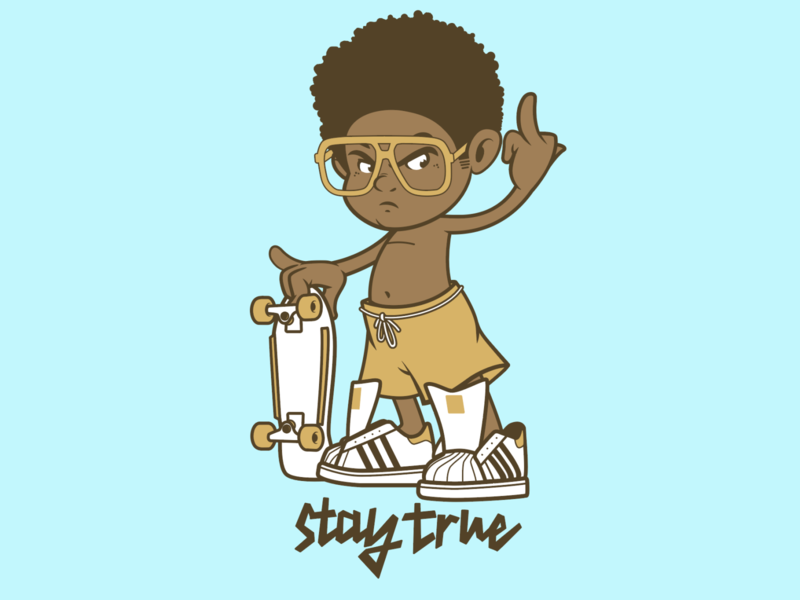 Stay True skateboarding brooklyn designer sticker design t shirt design character design vector design illustration graphics