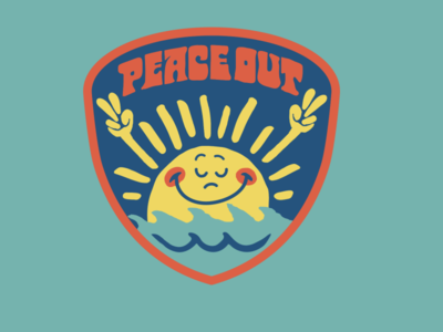 Peace Out sun waves surf brooklyn designer t shirt design character design vector design illustration graphics