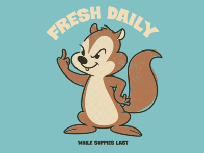 Fresh Daily! squirrel animals brooklyn designer t shirt design character design vector design illustration graphics
