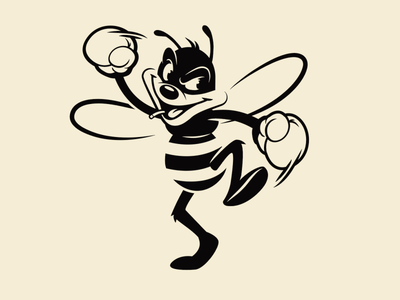 Boxer Bee boxing bee sticker design brooklyn designer character design vector design illustration graphics