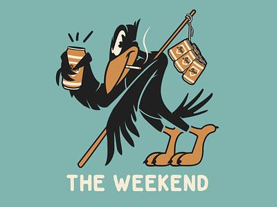 The Weekend! crow brooklyn designer sticker design t shirt design character design vector design illustration graphics