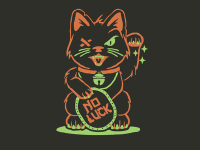 No Luck cat character design t shirt design brooklyn designer t-shirt design vector design illustration graphics