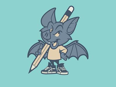 Freelance bat freelance pencil bat brooklyn designer vector t shirt design character design vector design illustration graphics