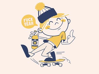 Fuck yeah! sticker design vector type skateboarding brooklyn designer t shirt design character design vector design illustration graphics