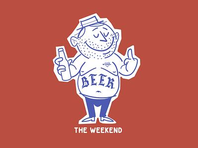 The weekend beer vector t shirt design sticker design brooklyn designer character design vector design illustration graphics