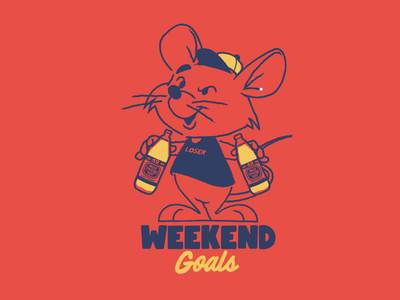 Weekend Goals! rat animals vector t shirt design character design vector design illustration graphics