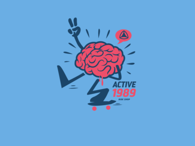 Skateboarding on the Brain! illustration vector sticker design t shirt design character design skateboarding t-shirt design vector design graphics