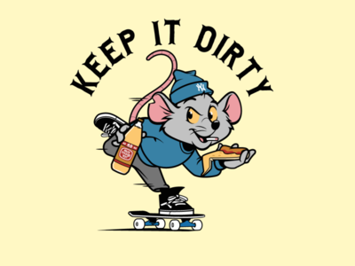Keep it Dirty rat mascot design sticker design skateboarding vector character design t shirt design tee design vector design illustration graphics
