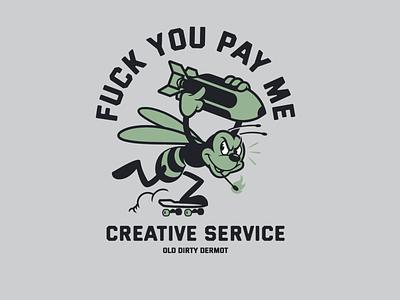 PAY ME! bee skateboarding sticker design t shirt design character design tee design vector design illustration graphics