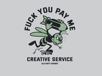 PAY ME! bee skateboarding sticker design t shirt design character design tee design vector design illustration graphics