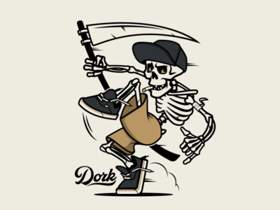 Dork skeleton skull mascot design brooklyn designer t-shirt design sticker design vector t shirt design character design vector design illustration graphics