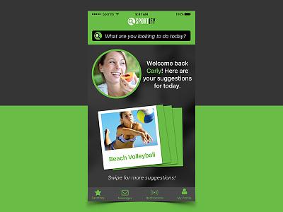Welcome Screen welcome user sketch sports ui ux app