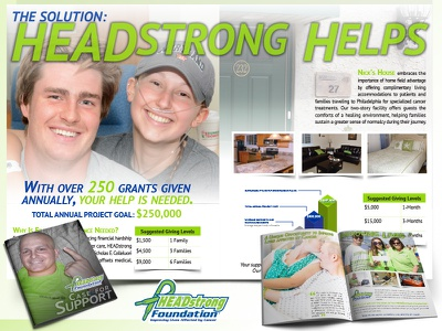 Donor Case Study Brochure layout brochure cancer headstrong non-profit