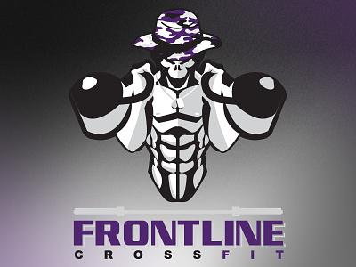 Frontline CrossFit Logo skull dog tags military training weights kettlebell cf crossfit mark logo
