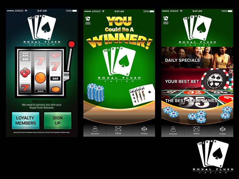 Casino Application Screens design visual ux ui app cards flush royal casino