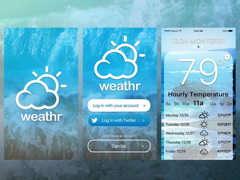 weather app onboard screens sun beach bay area blue overlay flat ios10 ios app weather