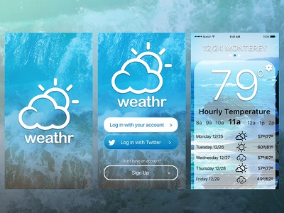 weather app onboard screens sun beach bay area blue overlay flat ios10 ios app weather